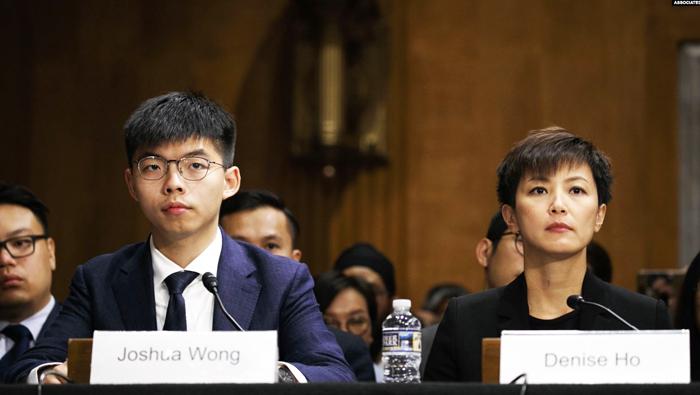 Hai nhà hoạt động dân chủ Joshua Wong (trái) và Denise Ho ra điều trần trước Quốc Hội Mỹ hôm thứ Ba, 17/9