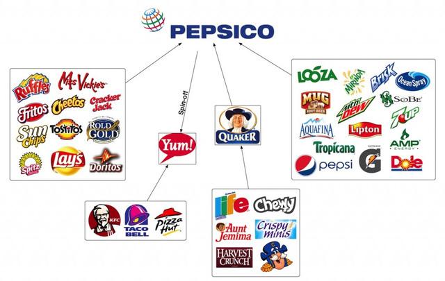Ngoài đồ uống, PepsiCo còn sản xuất những hộp yến mạch Quaker, snack Poca và Cheetos. (Ảnh qua Slide-Share)