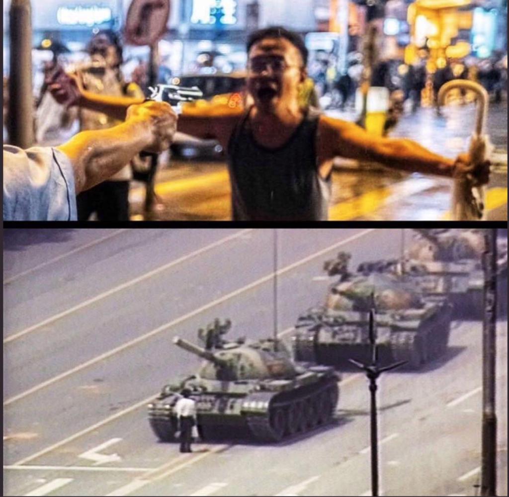 Người đàn ông chặn nòng súng cảnh sát Hong Kong tối 25/8 được ví như người chắn xe tăng ở cuộc Thảm sát Thiên An Môn. (Ảnh qua Twitter)