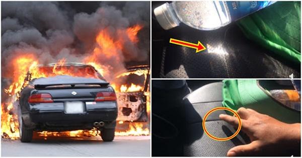 Cảnh báo: Để chai nước trong ô tô có thể gây cháy nổ