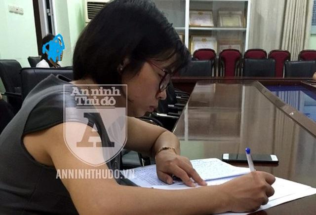 Bị can Nguyễn Thu Thủy tại cơ quan điều tra. (Ảnh qua anninhthudo)