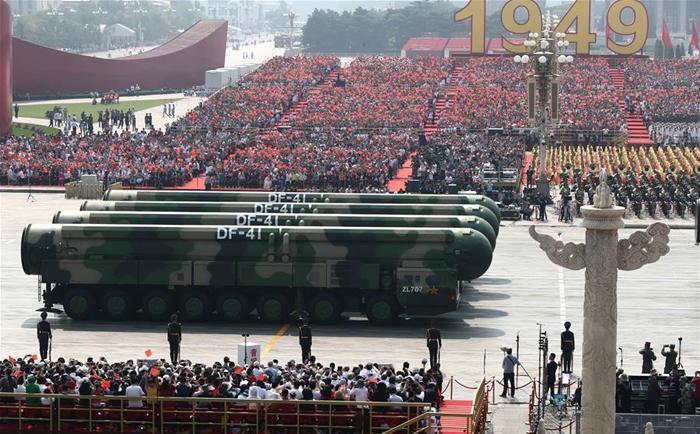 """Trong đại diễu hành năm 2019, DF-41 tiếp tục xuất hiện và được truyền thông nhấn mạnh là """"vũ khí chiến lược""""."""