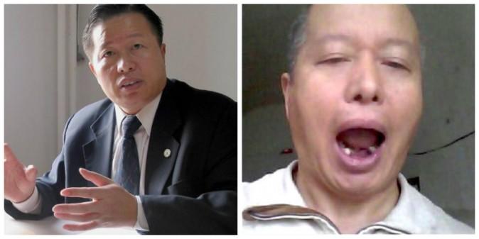 Luật sư Cao Trí Thịnh trước và sau khi bị chính quyền Trung Quốc bắt giữ. Ông bị đánh đập, bị đánh gẫy răng và các hình thức tra tấn khác. (Ảnh qua ĐKN)