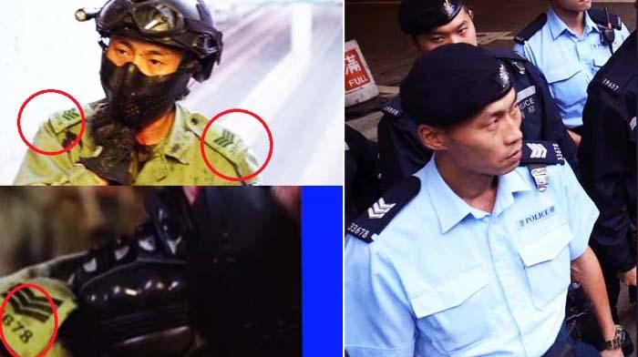 """Trên mạng internet của Hồng Kông có người phát hiện, số hiệu trên vai của người """"cảnh sát"""" trẻ tuổi bị cắt cổ, thực tế là từ một người cảnh sát trung niên ở Hồng Kông."""