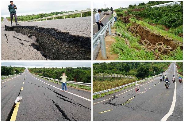 Dự án đường Hồ Chí Minh tuyến tránh huyện Chư Sê (Gia Lai) sụt lún, biến dạng, nguy cơ mất an toàn giao thông cao.