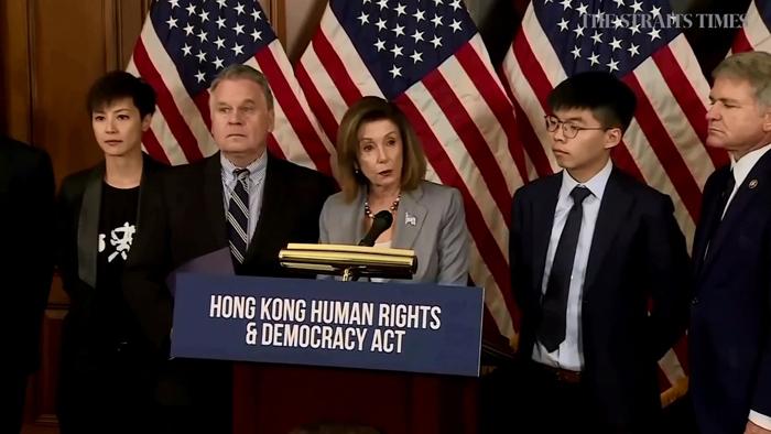 Phái đoàn của phong trào dân chủ Hồng Kông họp báo với lãnh đạo Hạ viện Mỹ ngày 19/9/2019 tại Washington DC, Mỹ.