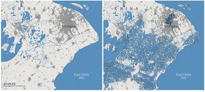Ảnh hưởng nước biển dâng tới Thượng Hải vào năm 2050.