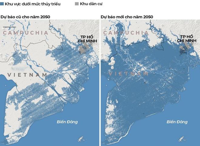 Bản so sánh kết quả nghiên cứu cũ và nghiên cứu mới công bố về ảnh hưởng của nước biển dâng đối với miền Nam Việt Nam.