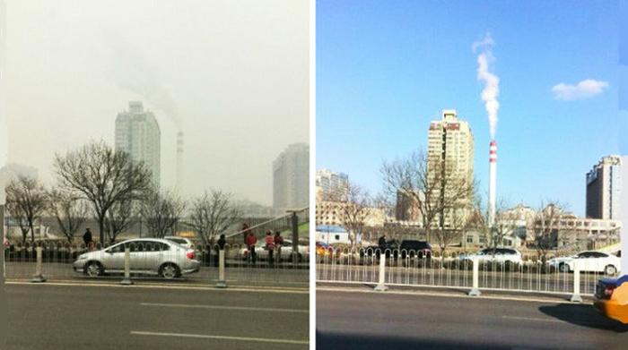 Ảnh so sánh bầu trời thủ đô Bắc Kinh trước và trong sự kiện APEC năm 2014.