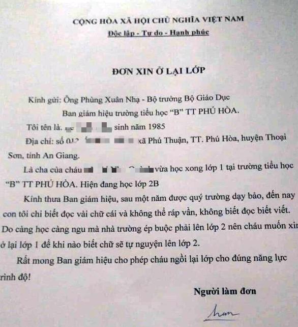 Lá đơn được cho là của anh Hận lan truyền trên mạng xã hội Facebook. (Ảnh qua tuoitre)