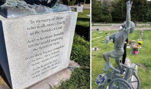 Đau lòng trước sự ra đi của con, người bố tạc một bức tượng trên bia mộ để tưởng nhớ
