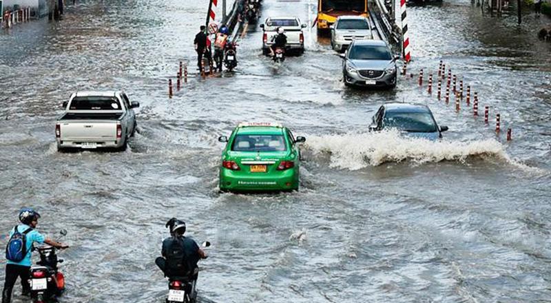 Nước lũ ở Bangkok, Thái Lan. (Ảnh qua laodong)