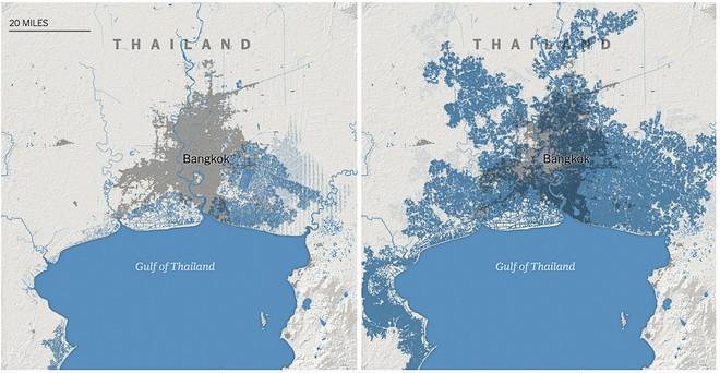 Phần lớn Bangkok cũng sẽ ngập dưới nước vì nước biển dâng vào năm 2050.