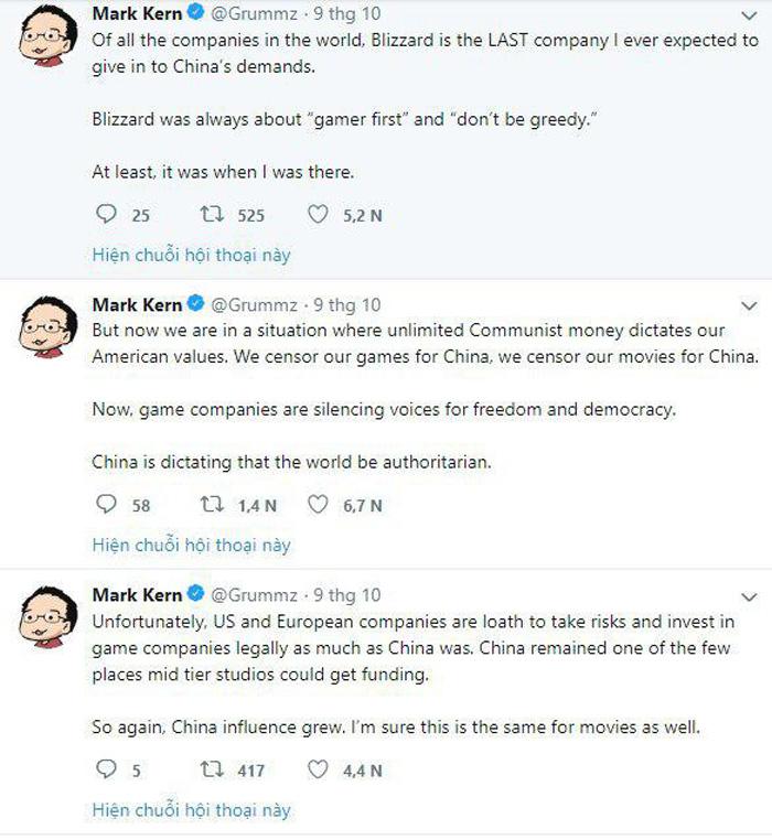 """Mark Kern, nhà thiết kế chính và là cha đẻ của tên game kinh điển """"World of Warcraft"""", đã đăng bình luận trên Twitter rằng sẽ tham gia chiến dịch """"phản đối Blizzard"""". (Ảnh: Twitter)"""