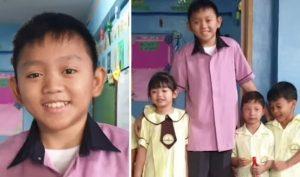 Thầy giáo thường bị nhầm là học sinh lớp 5 bởi gương mặt baby và thân hình trẻ con