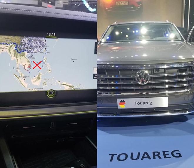 Hình ảnh 'đường lưỡi bò' trên bản đồ định vị của Volkswagen được người dùng chụp lại.