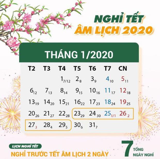 Lịch nghỉ Tết Canh Tý 2020.