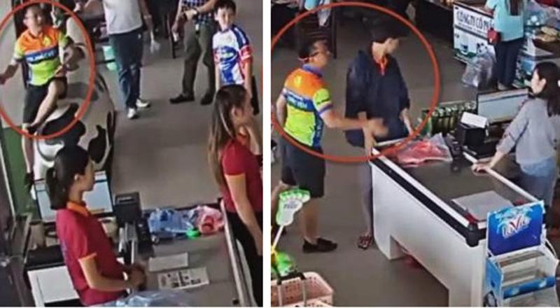 Con trai mua đồ không trả tiền, bố ném xúc xích vào mặt và tát nhân viên ở Thái Nguyên. (Ảnh qua VOV)