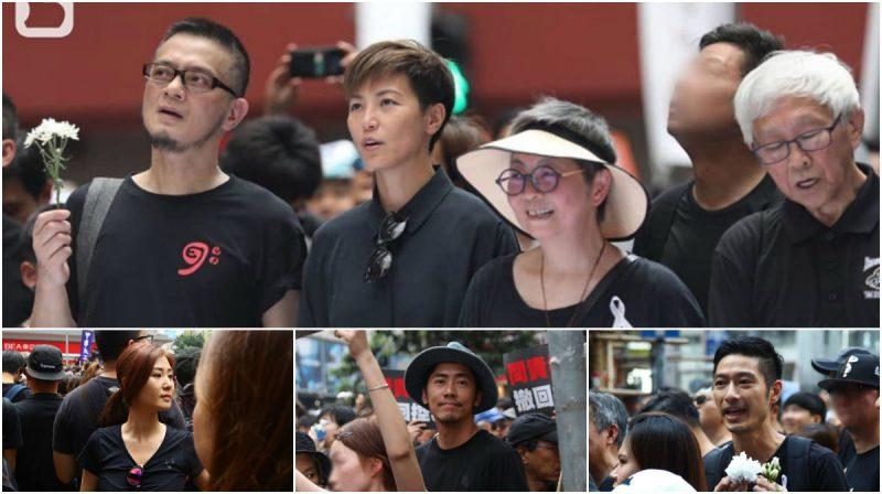 Giới nghệ sĩ Hồng Kông xuống đường biểu tình cùng sinh viên dòi quyền tự do dân chủ. Ảnh qua