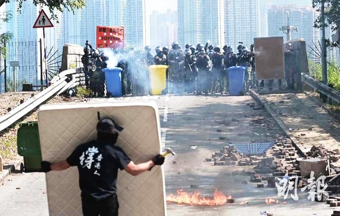 Người biểu tình Hồng Kông sử dụng những công cụ thô sơ để đối kháng lại cảnh sát được trang bị đầy đủ vũ khí quân dụng.