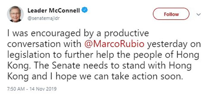 Ông Mitch McConnell chia sẻ trên Twitter về tình hình Hồng Kông.