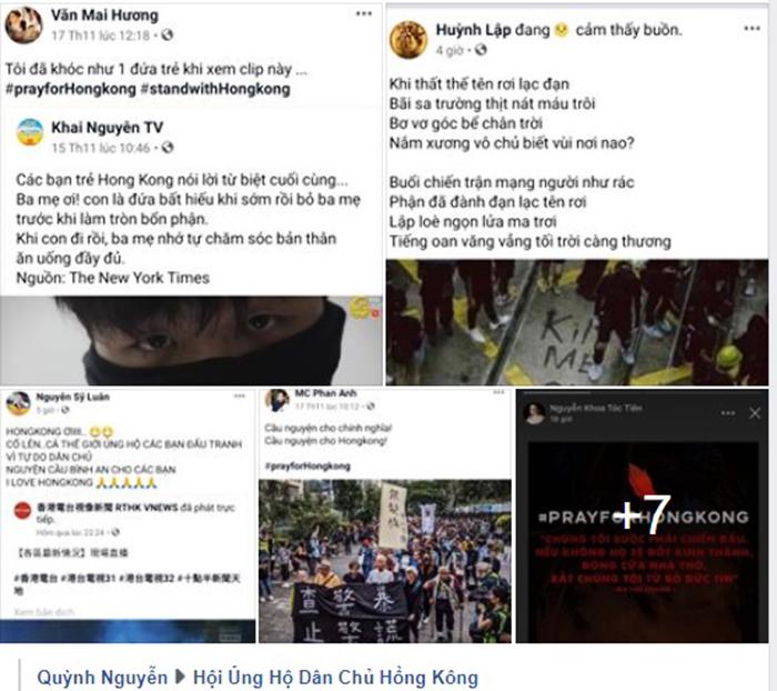 Hàng loạt nghệ sĩ VN đăng tải hình ảnh ủng hộ Hồng Kông. (Ảnh chụp màn hình)