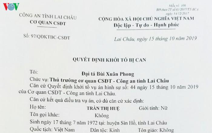 Quyết định khởi tố bị can, bắt giam 2 cán bộ phòng giáo dục ở Lai Châu tham ô gần 30 tỷ tiền hỗ trợ học sinh nghèo.