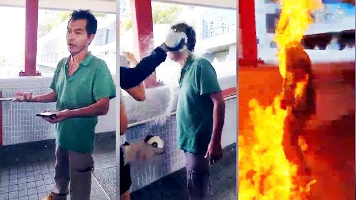 Khoảng 12:00 trưa ngày 11/11, tại khu vực Mã Yên Sơn (Ma On Shan) xảy ra một vụ phóng hỏa đốt người, được cho là dàn dựng để lấy cớ trấn áp người biểu tình.