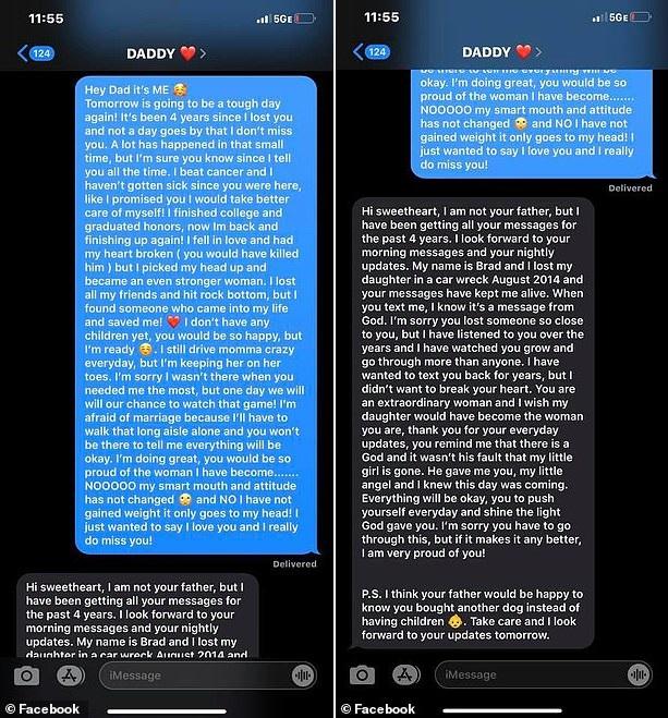 Nhắn tin cho người cha quá cố suốt 4 năm, cô gái bất ngờ nhận được tin nhắn trả lời