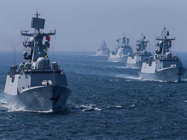 Lực lượng hải quân TQ tập trận trên biển Đông hồi tháng 9/2016. (Ảnh qua laodong)