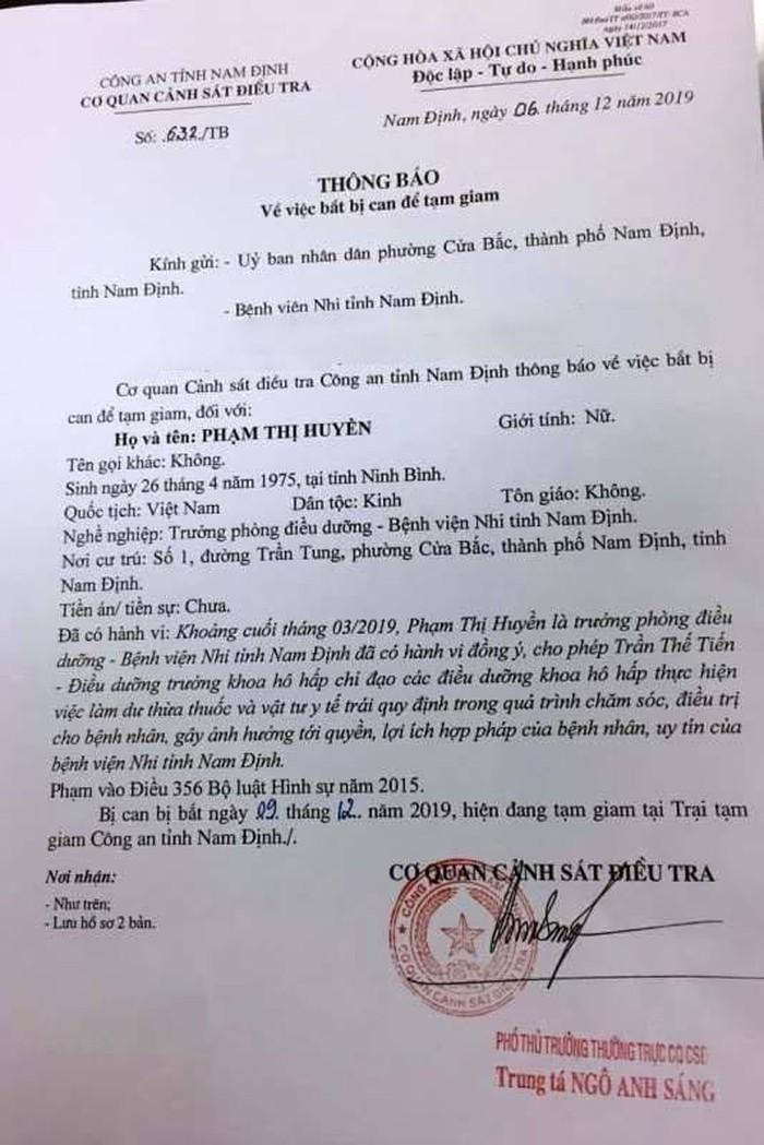 'Ăn bớt' thuốc của bệnh viện Nhi Nam Định, một nữ trưởng khoa bị bắt-ảnh1