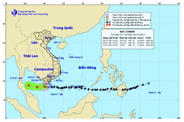 Năm 2017, bão số 16 (bão Tembin) không đi vào đất liền. (Ảnh qua trithuc)