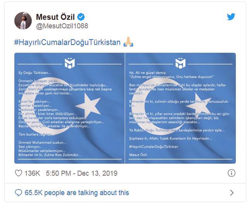 Mesut Ozil đăng tweet chỉ trích Trung Quốc đàn áp người Duy Ngô Nhĩ