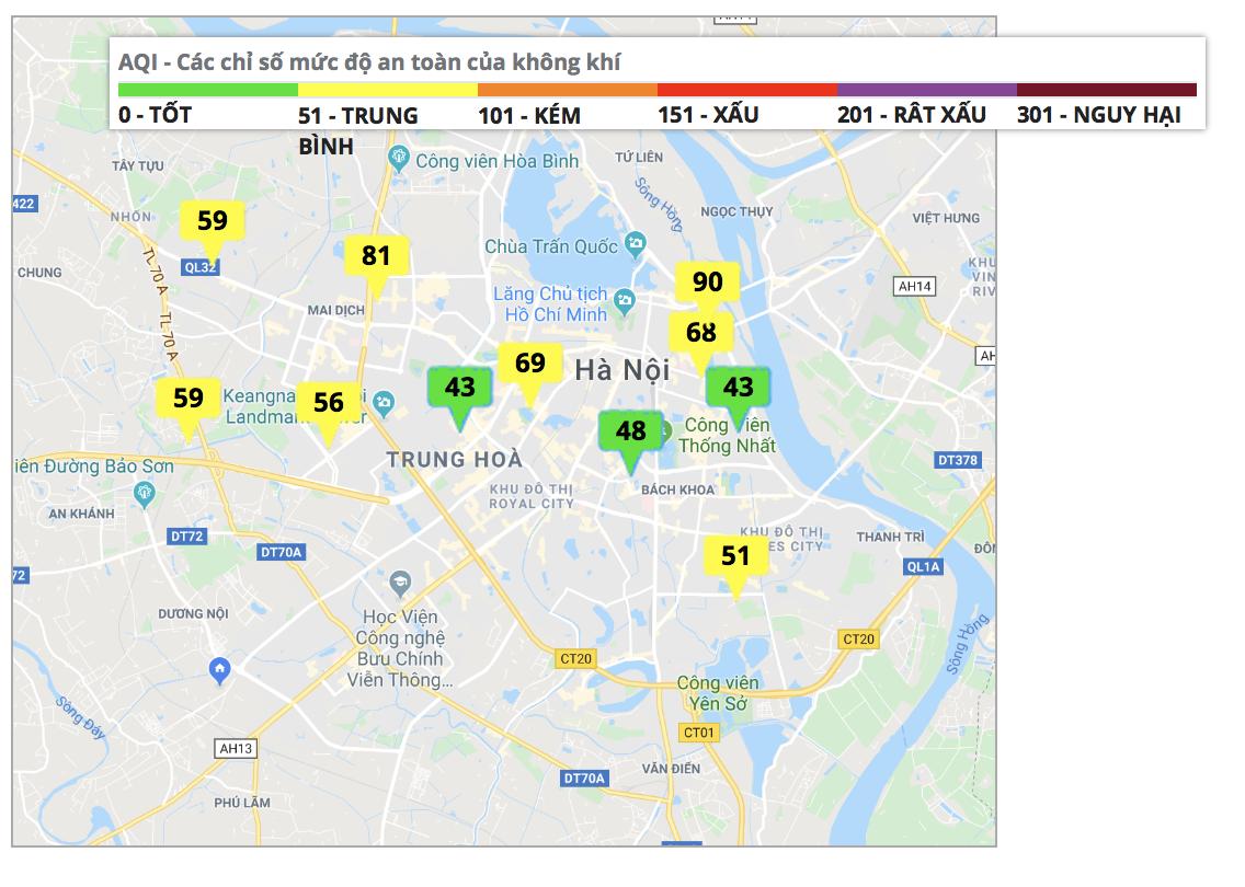 Thông qua Cổng thông tin quan trắc môi trường của UBND TP. Hà Nội mức chỉ số trung bình đã đạt ngưỡng vàng, 3 điểm ở ngưỡng xanh. (Ảnh qua moitruongthudo)