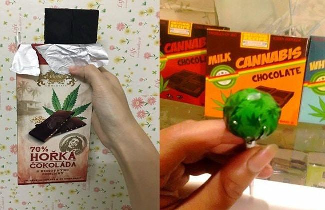 Bánh socola và kẹo mút cần sa được rao bán trên mạng xã hội.