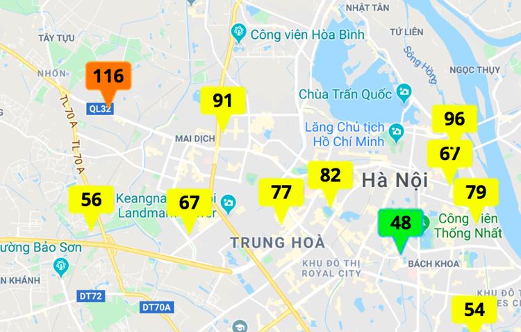 Kết quả quan trắc chất lượng không khí (AQI) của Cổng thông tin quan trắc môi trường Hà Nội lúc 12h ngày 25/12.