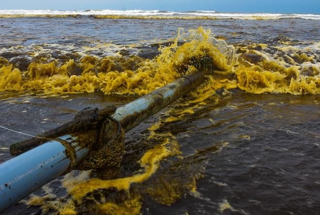 Nước biển màu đen cà phê và bọt màu vàng đục xuất hiện ở vùng biển xã Bình Thạnh, huyện Bình Sơn (Khu kinh tế Dung Quất, tỉnh Quảng Ngãi)