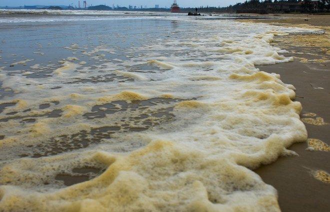 sóng đánh bọt váng vàng tấp vào bờ.