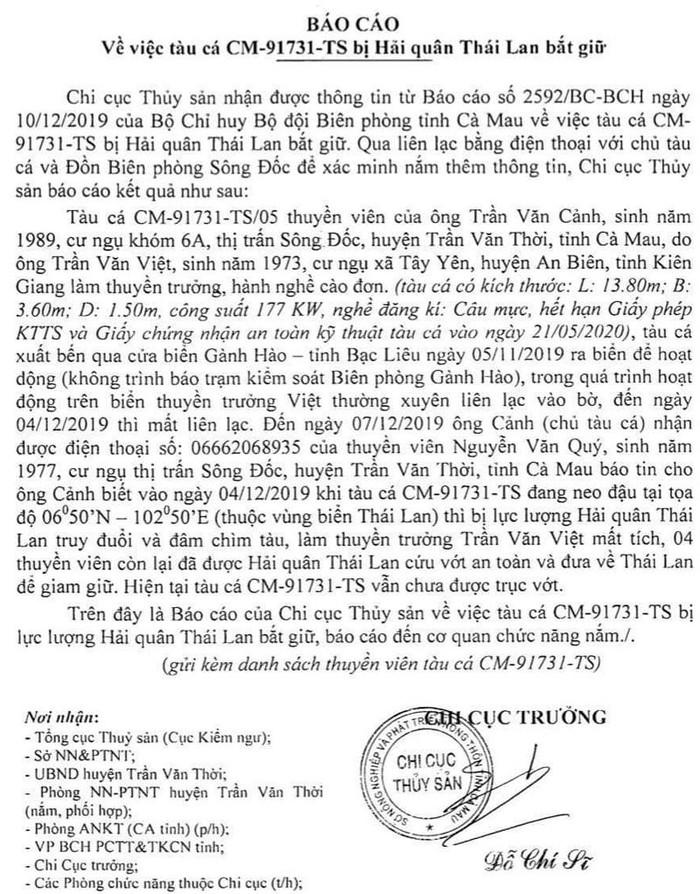 Tàu cá của ngư dân Cà Mau bị Hải quan Thái Lan truy đuổi, đâm chìm-ảnh 2
