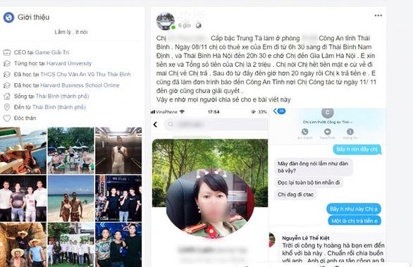 Thông tin tố trung tá Vũ Thùy Linh 'quỵt tiền' thuê dịch vụ được tài xế Hân chia sẻ trên trang Facebook cá nhân.