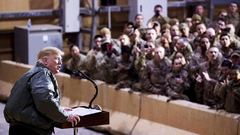 Tổng thống Trump tại căn cứ quân sự Mỹ ở Iraq.