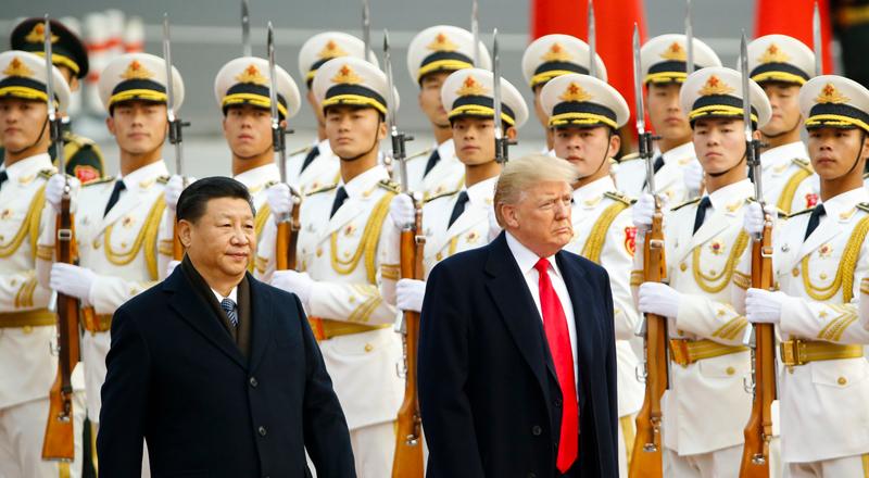 Chủ tịch Trung Quốc Tập Cận Bình đón tiếp Tổng thống Trump tại Bắc Kinh, Trung Quốc ngày 9/11/2017.