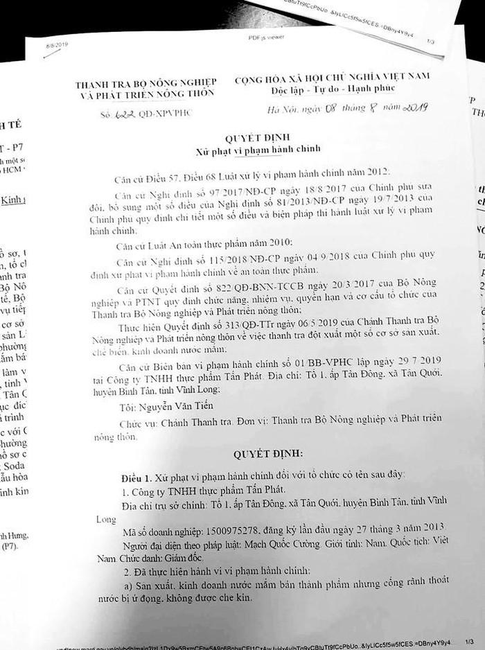 Quyết định xử phạt vi phạm hành chính của Thanh tra Bộ Nông nghiệp và Phát triển nông thôn đối với Công ty Tấn Phát. (Ảnh qua nld)