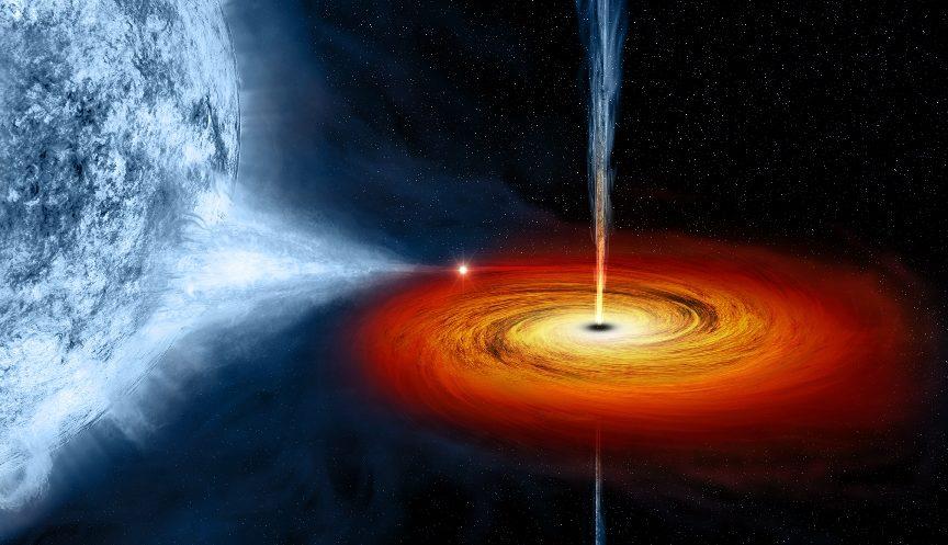 nhìn từ bên ngoài, lỗ đen có vẻ như đang nuốt chửng những ngôi sao gần đó.