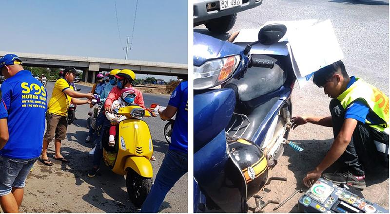 Nhóm tình nguyện TP.HCM phát nước, vá xe miễn phí cho người dân về quê ăn Tết.