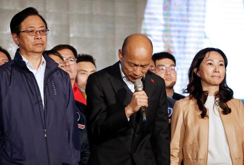 Chủ tịch Quốc Dân Đảng Hàn Quốc Du phát biểu chấp nhận thất bại.