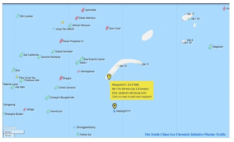 Ngày 9/1, tàu hải cảnh 35111 cách bãi Tư Chính khoảng 23,3 hải lý. (Ảnh qua trithuc)