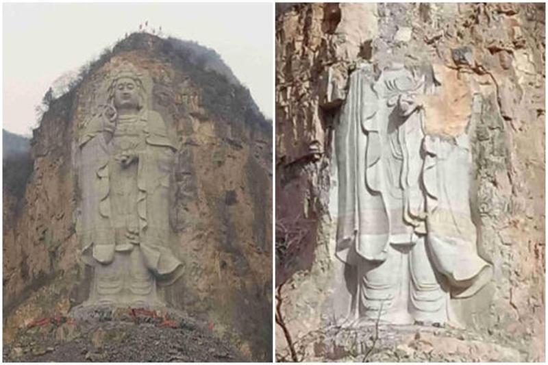ĐCSTQ đã cho nổ tung đầu một tượng Phật Quan Âm