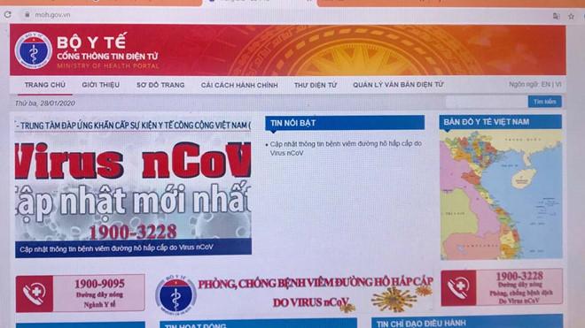 moh.gov.vn là website chính thức của Bộ Y tế Việt Nam, đăng tải các thông tin chính thống về phòng chống dịch viêm đường hô hấp cấp do vi rút nCoV. (Ảnh qua thanhnien)