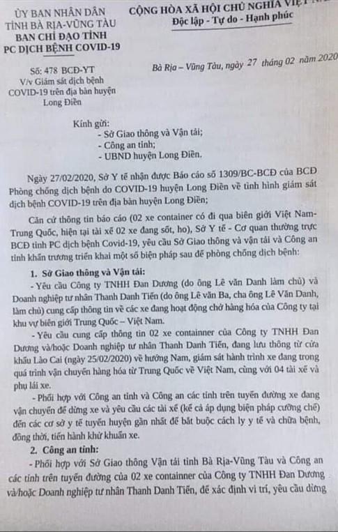 Bà Rịa-Vũng Tàu Phát hiện 4 tài xế container 'sốt, ho' nghi nhiễm Covid-19, doanh nghiệp từ chối hợp tác